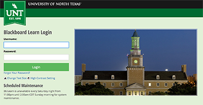 View of the portal page to UNT's Blackboard Learn website.
