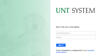 Image of portal page to access UNT official mail called EagleConnect.