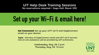 Wi-Fi setup training, Aug. 29 and 30 at the UIT Help Desk