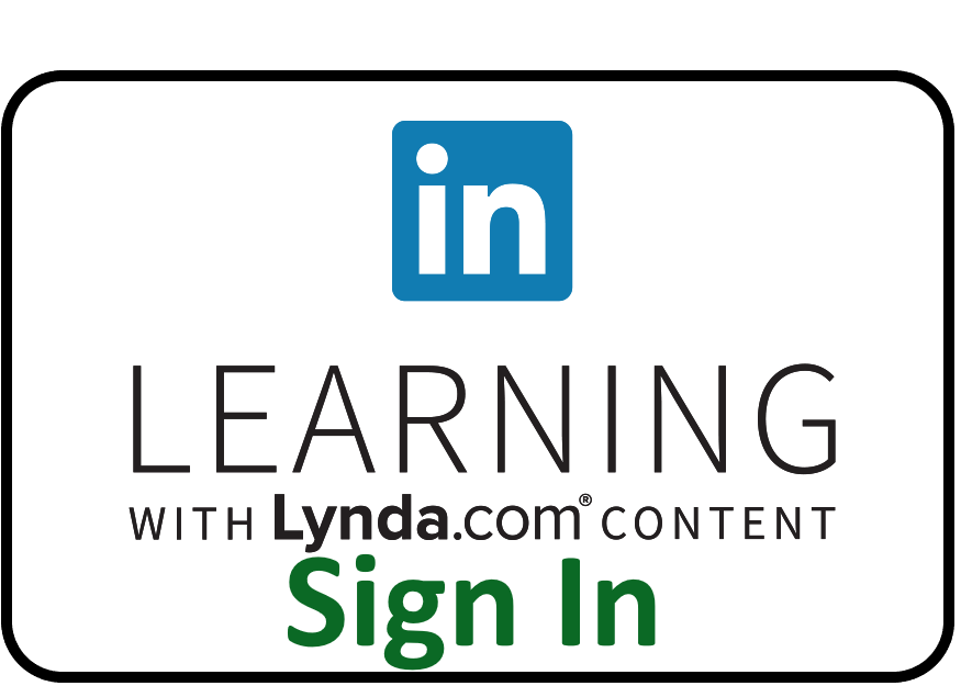 LInkedIn Learning sign-in button. Click and enter your EUID and password for access.