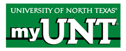 graphic of University of North Texas My UNT against a green background.
