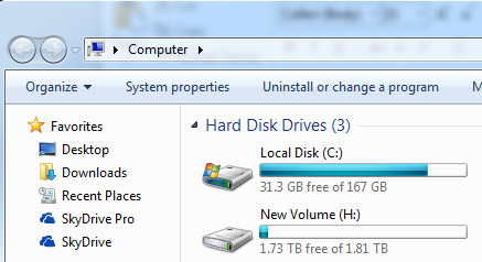 photo of the PC folder called hard disk drives