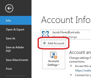 photo of outlook setup screen to add an account