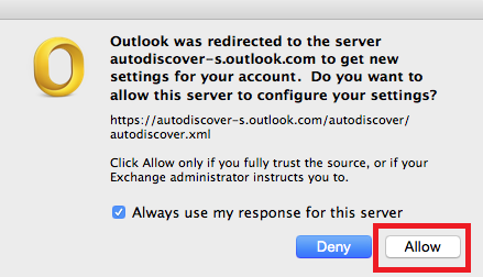 photo of message to allow the server to configure your settings, click allow
