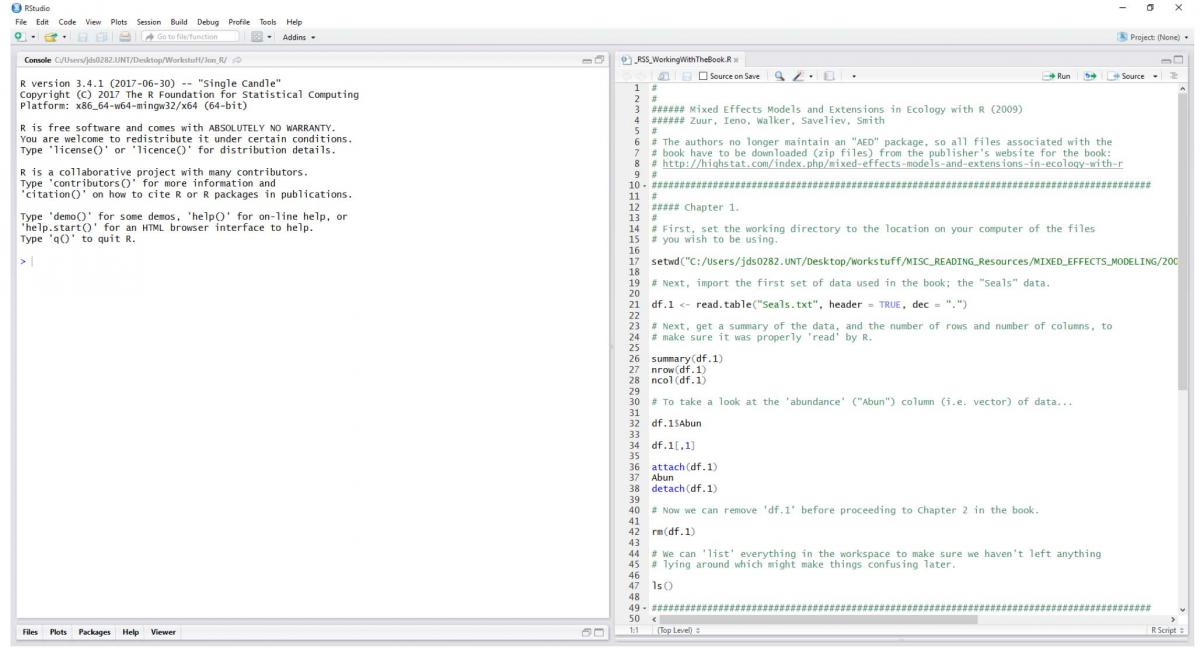 Image showing RStudio with the author's preferred pane layout with R script file open.