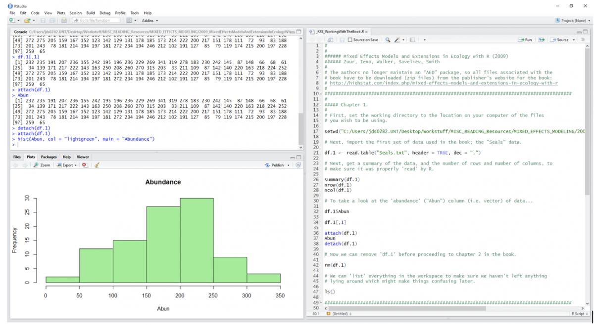 Image showing RStudio with a basic histogram opened into the lower left pane (i.e. half that side of RStudio, with the R console filling the upper half).