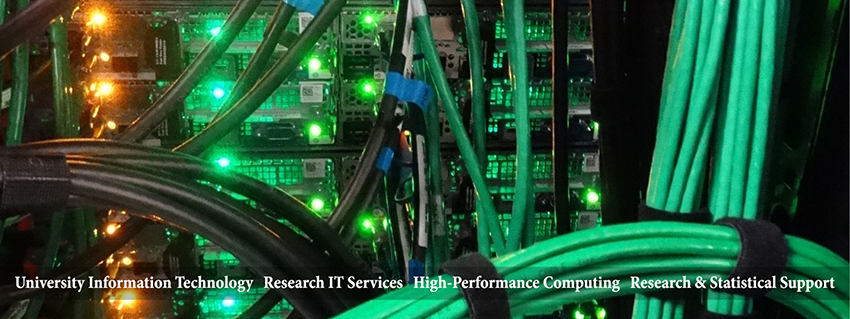 Photos of wires and lights that are on the back of the University IT High Performance Computing Talon 3