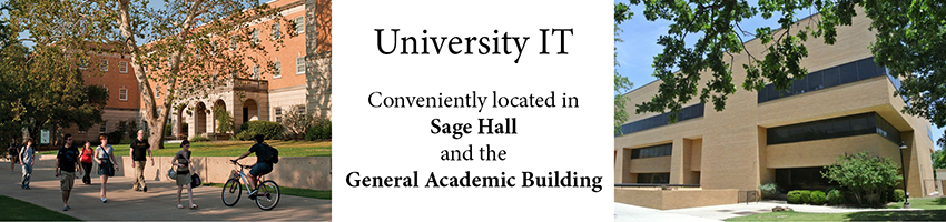 University IT locations are in Sage Hall and General Academic Building