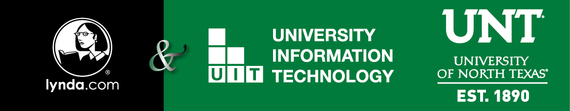 Banner of logos for Lynda dot com, University IT and University of North Texas partnership.