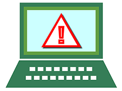 alert yield sign on a laptop screen